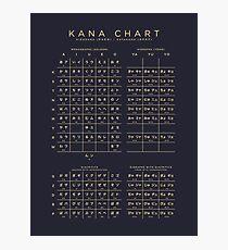 Combined Hiragana Katakana Japanese Character Chart - Black Photographic Print