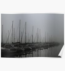 Foggy Morning at Marina Poster