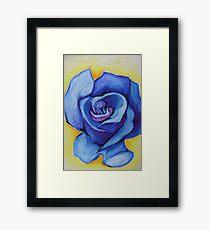 Blue Rose - Oil Pastel Framed Print