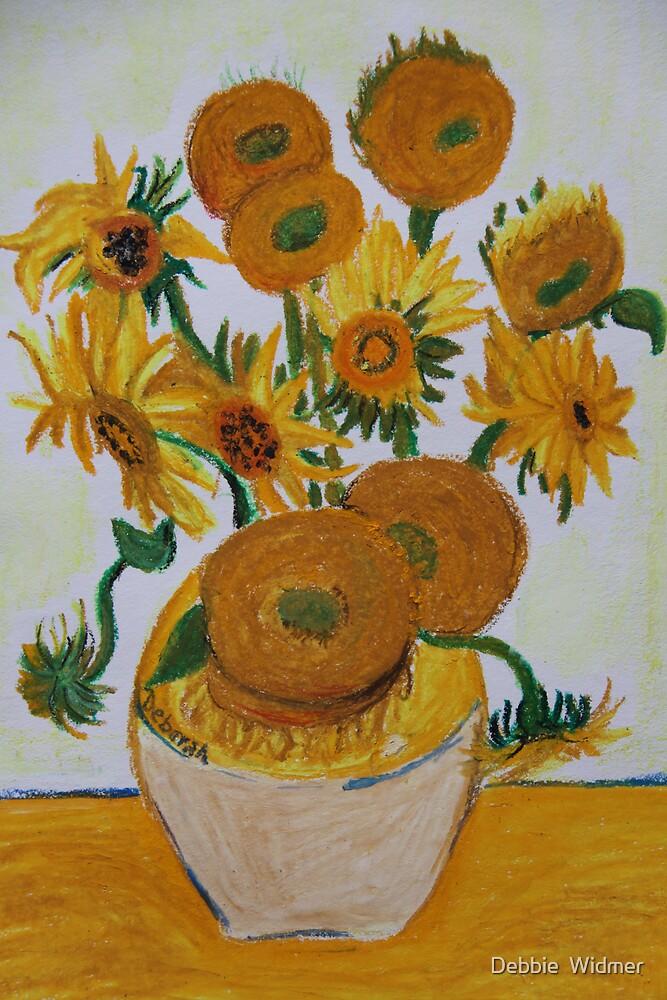 Sunflowers - Oil Pastel by Debbie  Widmer