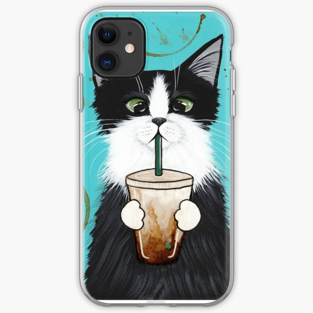 Tuxedo Cat with Iced Coffee iPhone Case & Cover