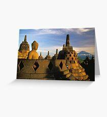 Buddha Statue and Stupas, Borobudur  Greeting Card