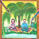 Meditation under a tree spiritual  by Medilludesign