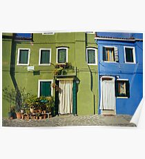 Brightly Painted Houses, Burano, Venice (Italy)  Poster