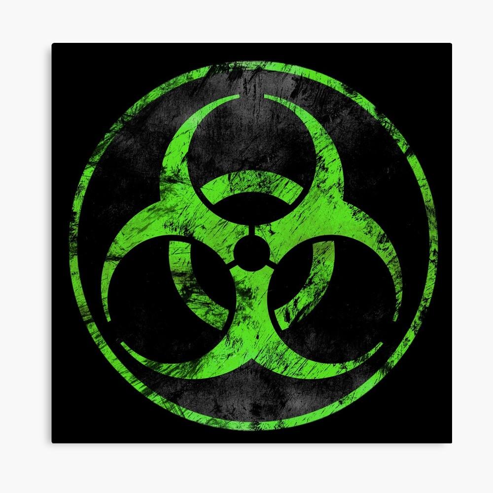 Biohazard Logo Decayed (Green) Canvas Print