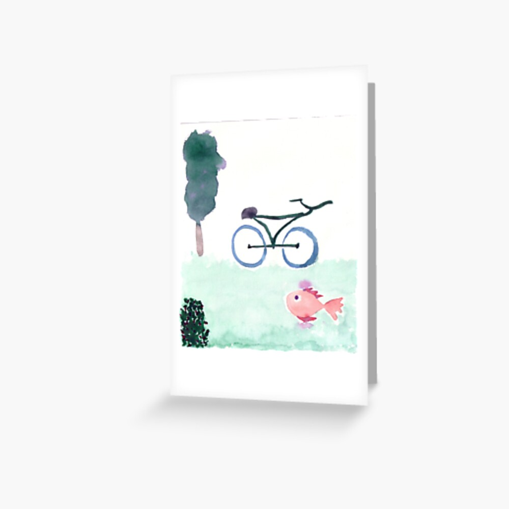 bike & fish Greeting Card