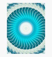 Cyan Glow Kaleidoscope 7 Photographic Print