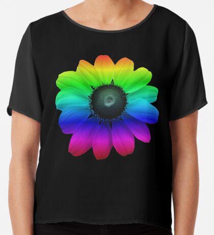 wunderschöne bunte Blume, Regenbogen, Blüte, Natur, bunt Chiffontop für Frauen