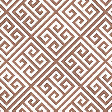 Greek key pattern, modern,trendy,pattern,brown,white,classical by love999