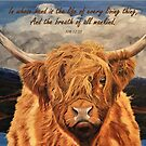 Highland Cow - With Job 12:10 Bible Verse by EuniceWilkie