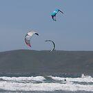 Kitesurfing in the Ocean - Three kites in the distance by Buckwhite