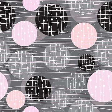 Very Retro Gray, Pink and White Circles by pugmom4