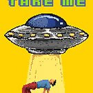 Please Take Me Alien Abduction Retro Pixel Art by scooterbaby