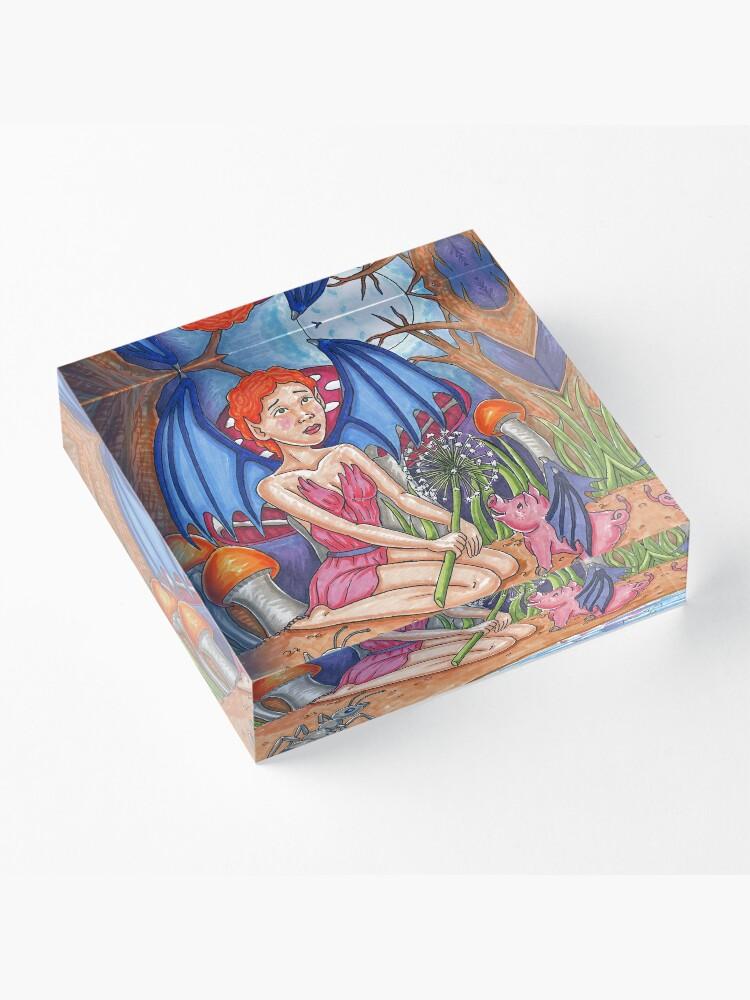 Alternate view of Bat Fairy and Bat Pig Acrylic Block
