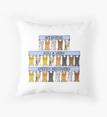 Cats wishing you a speedy recovery. Throw Pillow