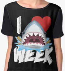 I Love The Week Of Sharks Funny Novelty Gift Idea For Shark Lovers Graphic Shark Bite Chiffon Top