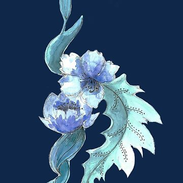 navy blue flower porcelain design by aggie