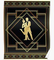 Art Deco Gatsby-Art-Prallplatten-Paar Poster