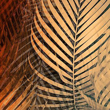 TROPICAL BEIGE ORANGE LEAVES-B by aCVPia