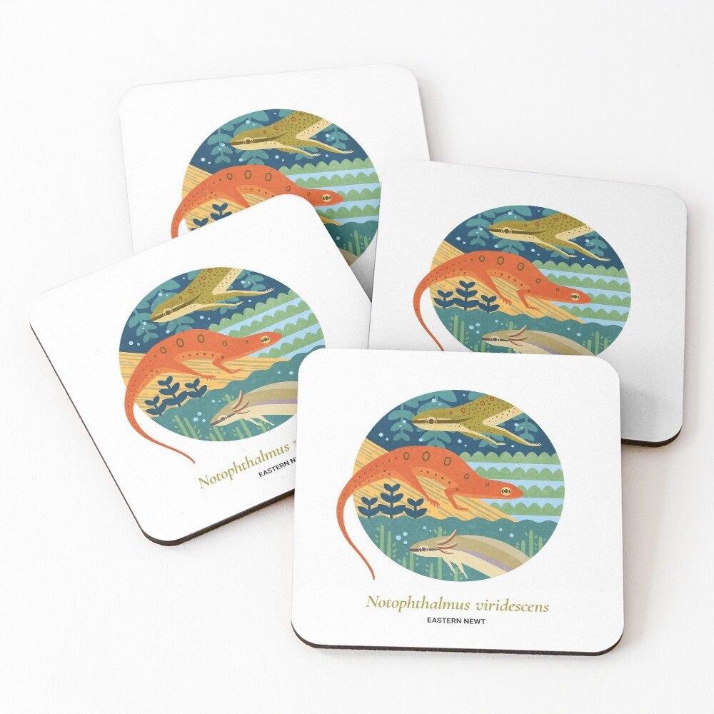 The Circles of Life: Eastern Newt Coasters (Set of 4)