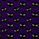 Black and purple cat Halloween pattern by PLdesign