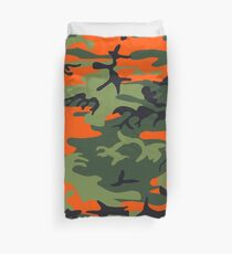 Orange Camouflage Army Pattern Duvet Cover