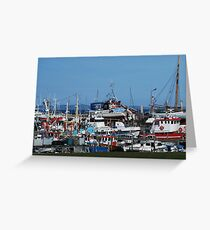 Fishing boat harbour Greeting Card