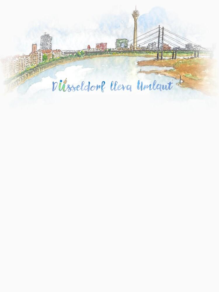 Skyline con texto - Düsseldorf lleva Umlaut de dussllevaumlaut