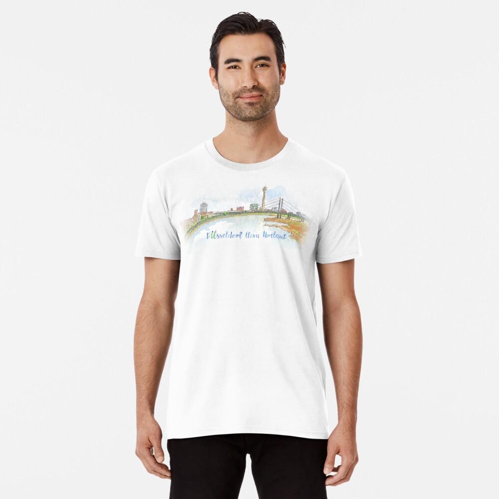 Skyline con texto - Düsseldorf lleva Umlaut Camiseta premium