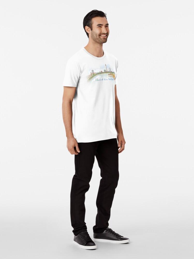 Vista alternativa de Camiseta premium Skyline con texto - Düsseldorf lleva Umlaut