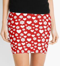 Flowers and hearts pattern Mini Skirt