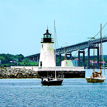 Rhode Island - Lighthouse Bridge And Boats Newport by SudaP0408