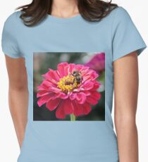 Bee Feeding On A Flower Womens Fitted T-Shirt