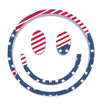 American Flag Smiley Smile Face  by CroDesign