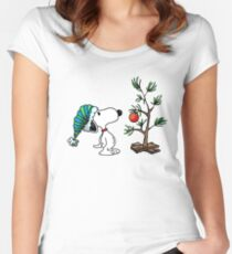 Christmas Snoopy Women's Fitted Scoop T-Shirt