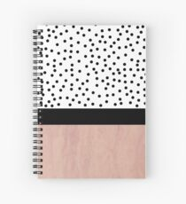 Pink marble and dots Spiral Notebook