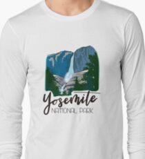 Yosemite National Park - Yosemite Falls Waterfall Mountain Valley Long Sleeve T-Shirt