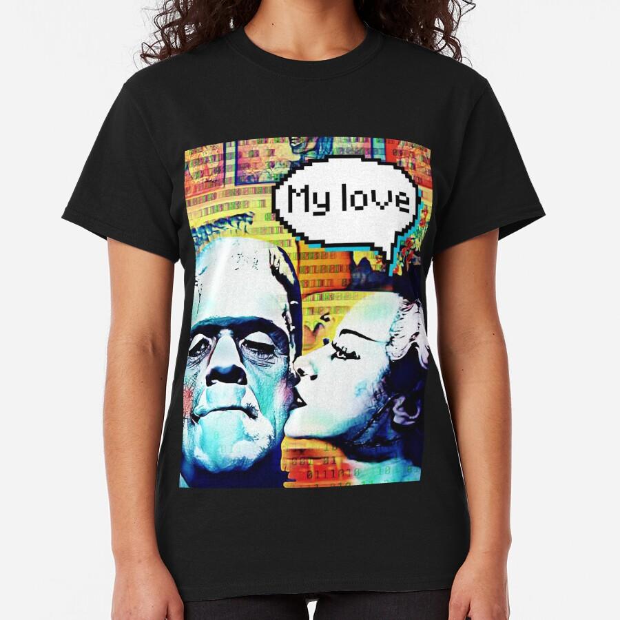 Frankenstein and Bride monster love Classic T-Shirt