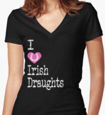 I Heart Irish Draughts | Love Irish Draught Horse Breeds Women's Fitted V-Neck T-Shirt
