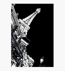 Paris Las Vegas At Night Black and White vertical poster Photographic Print