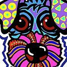 Purple Blue Terrier Dog Dogs Airedale Wheaton Lakeland Kerry Schnauzer Fox Puppy Sealyham Irish Schnauzer Norfolk Norwich Scottish English Gift Idea Jackie Carpenter Cairn by jrcarmax