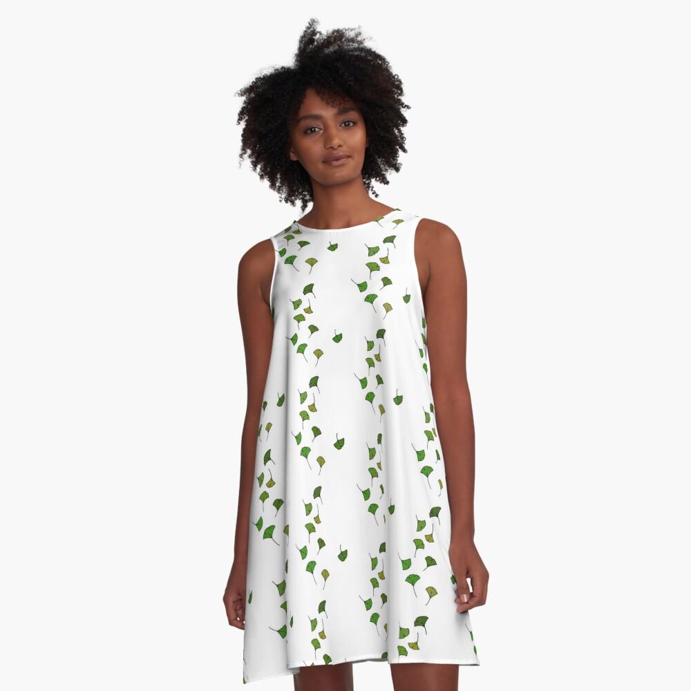 Free Falling Ginkgo Leaves A-Line Dress