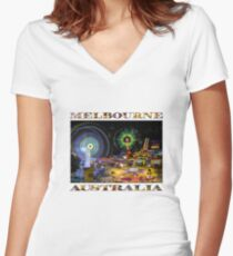 Fairground Attraction (diptych - right side) Women's Fitted V-Neck T-Shirt