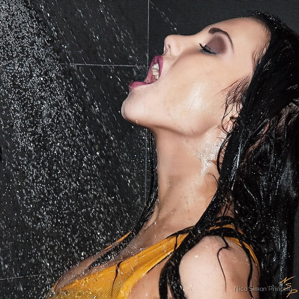 """Erotic Fashion Art Photography Poster Print - """"Getting Wet """" Featuring a Hot Sexy Brunette Model - Tshirts - Mugs - Phone Cases and More.  by Nico Simon Princely"""