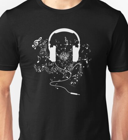 Headphones and music notes white Unisex T-Shirt