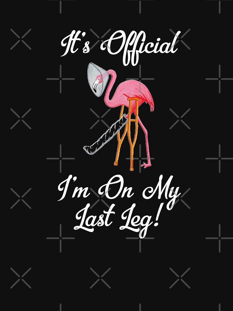 Pink Flamingo It's Official I'm On My Last Leg Flamingo Humor  by CheerfulDesigns