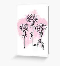 Inked Pink Carnation Greeting Card