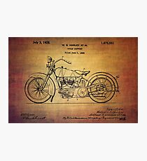 Harley Davidson Patent From 1928 Photographic Print