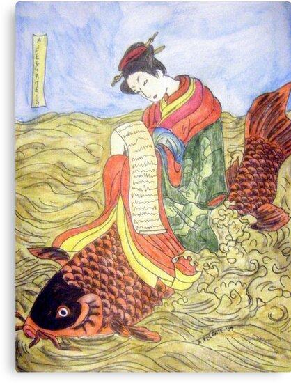 Geisha Rides Koi Through The Waves by Alexandra Felgate