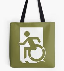 Emergency Exit Sign, with the Accessible Means of Egress Icon, part of the Accessible Exit Sign Project Tote Bag